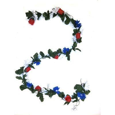 6' Red White and Blue Flower Garland