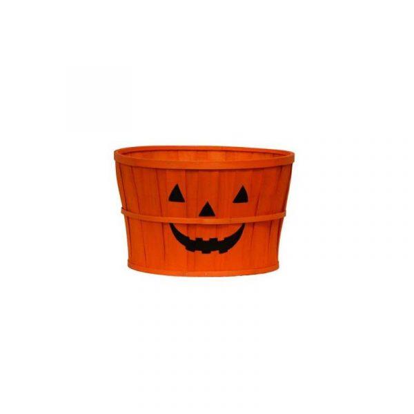 """13"""" Round Wood Chip Jack-O-Lantern Basket"""