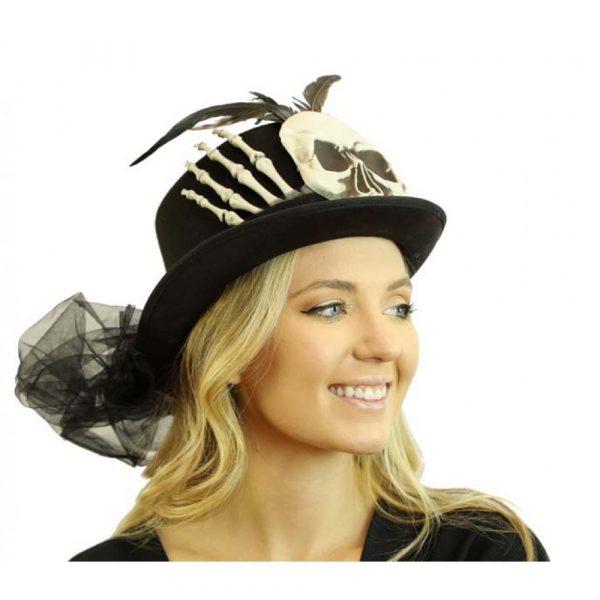 Black Felt Skeleton Top Hat w Feathers n Netting