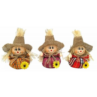 """6"""" tall scarecrow with round body"""